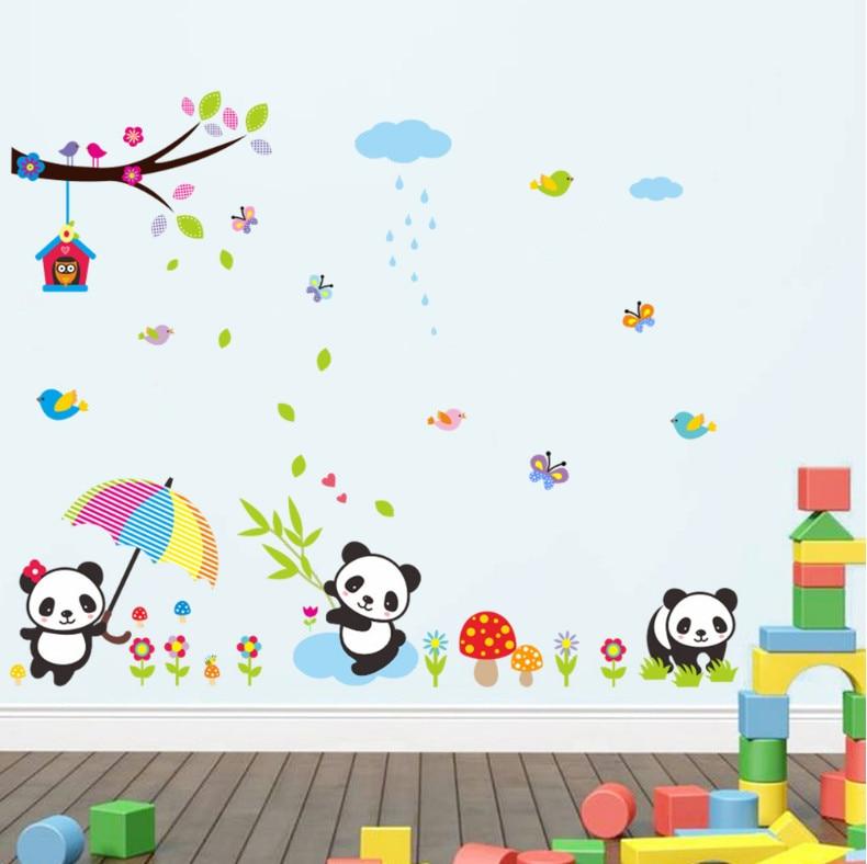 Прекрасный панда Дерево Птицы бабочки на стены Детская комната Домашний декор мультфильм животных стены наклейки ПВХ росписи Искусство DIY ...