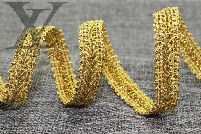 10 yardas/lote 1,3 cm de ancho dorado y plateado tela Centipede ropa de encaje Textiles borde curvo coser cincha