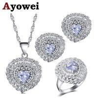 Ayowei для девочек белый циркон в форме сердца серебряные серьги ожерелье кулон кольца Ювелирные наборы США Размер #6 #7 #8 #9 #10 JS725A