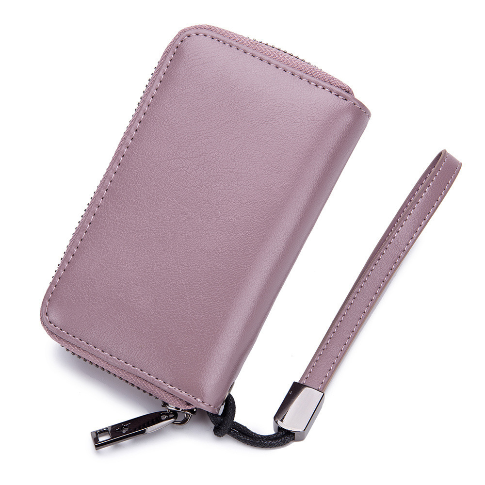 Compact Genuine Leather Key Wallet Key Holder Organizer Keyring Chain Pouch CL
