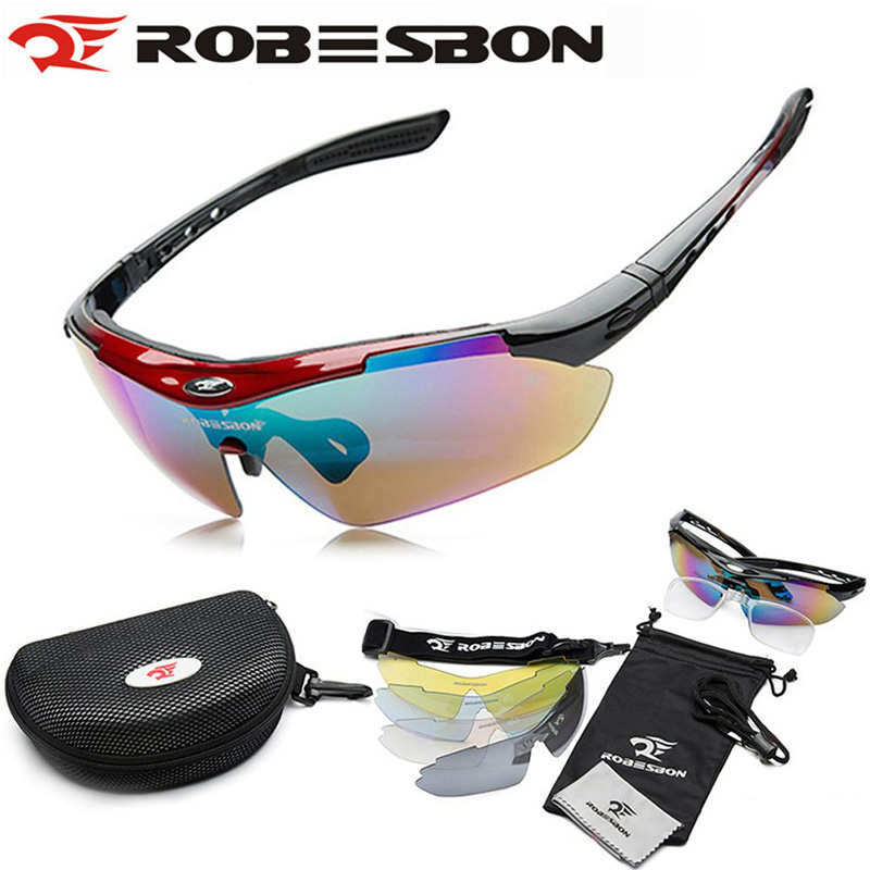 Prix pour Robesbon uv400 vtt vélo vélo lunettes de soleil plein air vélo lunettes lunettes de haute qualité lunettes 5 lentille gafas ciclismo
