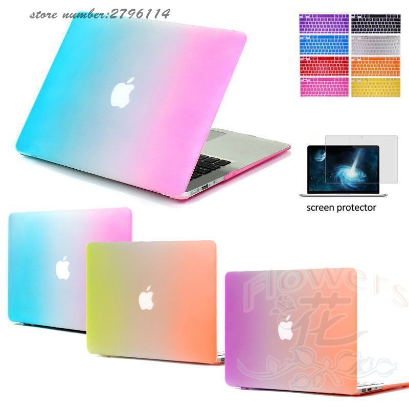 Fashion Rainbow Colour Rubberized Hard Matte Cases Cover For Macbook Air 11 13,Pro 13 15,Retina 13 15,Ultra-thin Shell Case