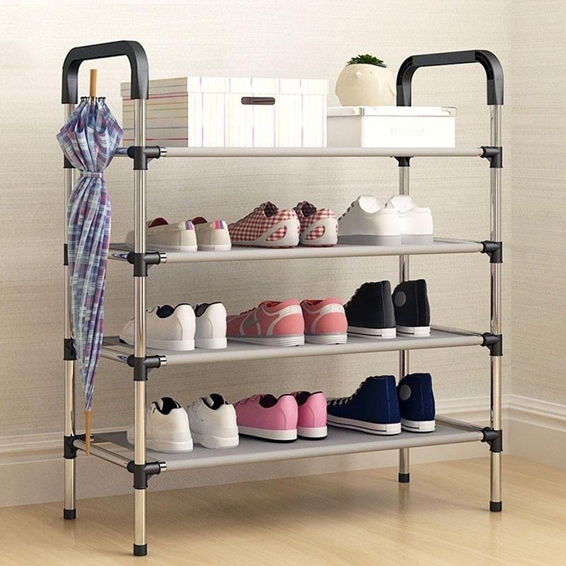 Fashion DIY Assembly Metal Shoes Shelf Student Dormitory Shoe Storage Rack Multi-layers Small Shoe Rack Organizer Cabinet