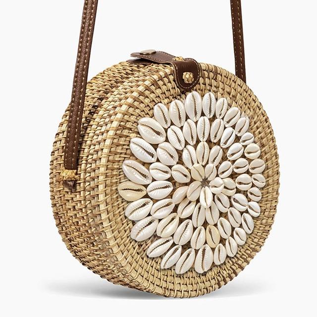 Circle Straw Bags Women...