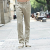 New Arrival 2018 Men's Clothing Summer Linen Casual Pants Solid Color Male Slim Fit Long Trousers Straight Male Linen Trousers