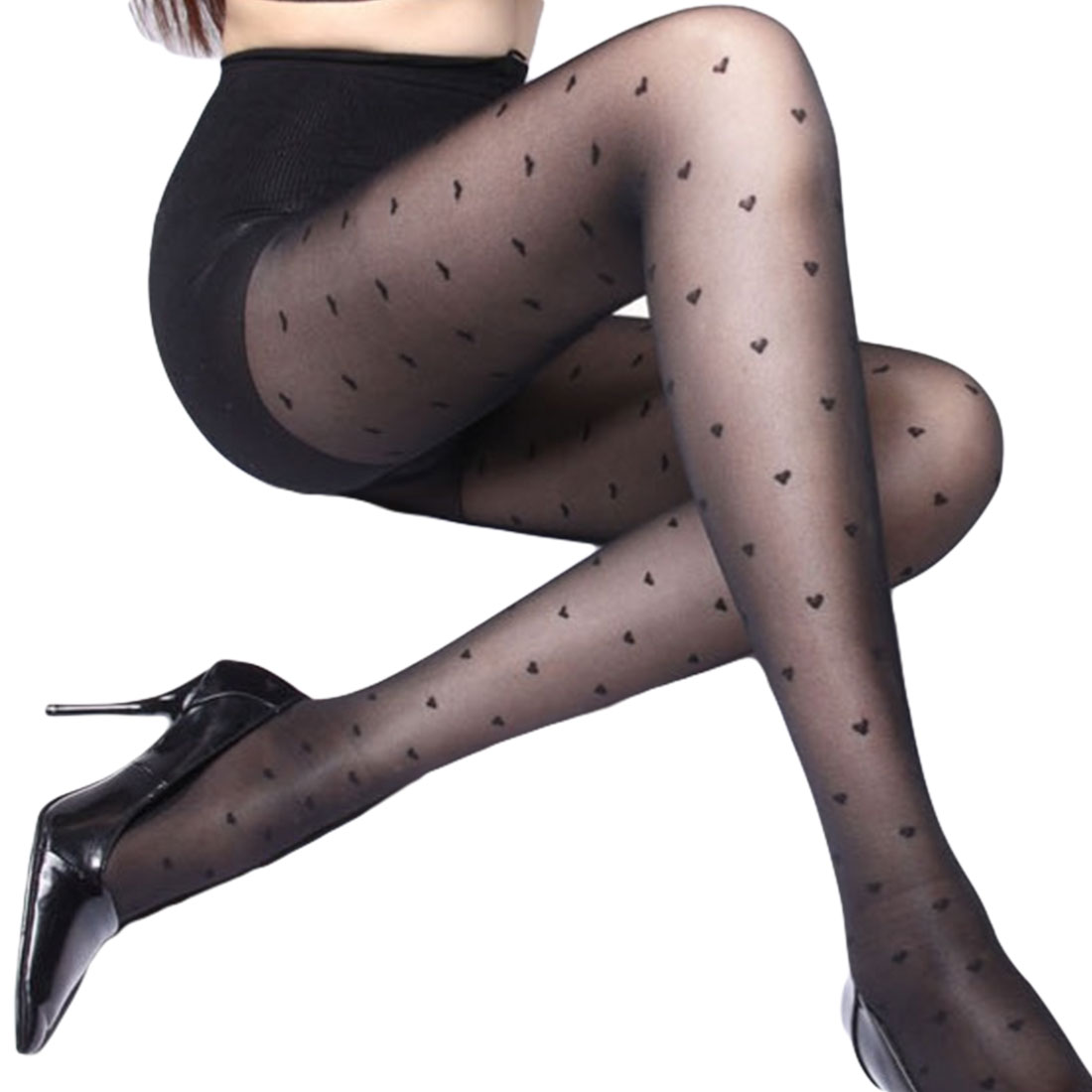2019 Women Sexy Tights Stockings Female Love Heart Transparent Pantyhose Black Stocking Microfiber Acrylic Hot Sale Dropship