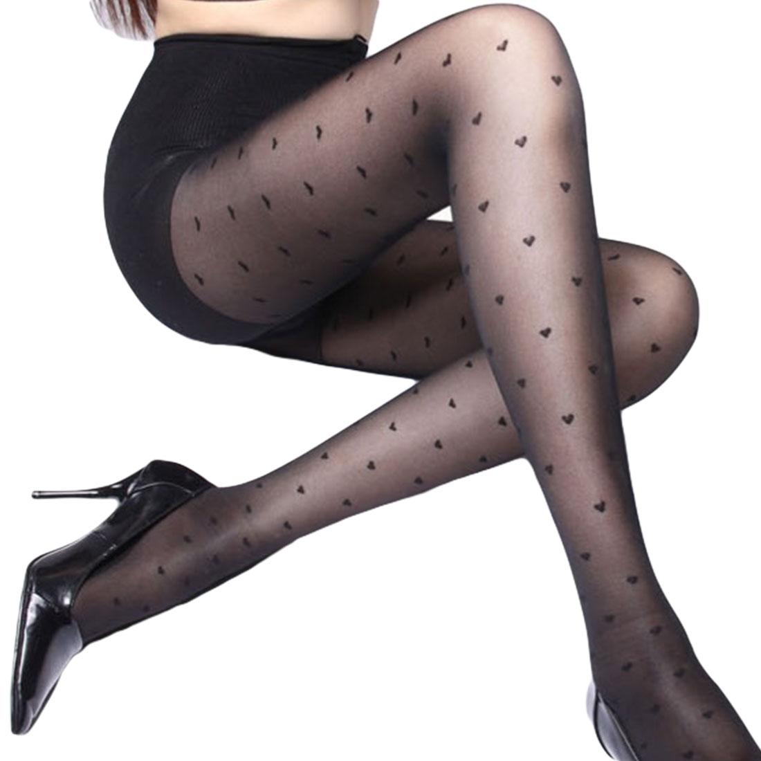 2019 Women Sexy Tights Stockings Female Love Heart Transparent Pantyhose Black Stocking Microfiber Acrylic Hot Sale Dropship