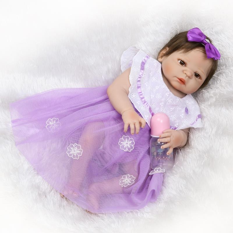 NPK Full Silicone Reborn Bebe Dolls 23inch Girl Doll Reborn Baby BeBe Reborn Vinyl  Baby Alive Boneca Para Kids Toys Gifts full silicone reborn dolls