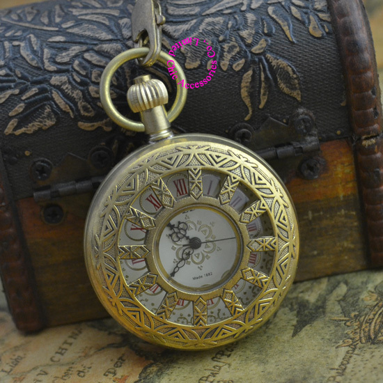 wholesale price good quality new gift for man father retro vintage antique classic bronze copper mechanical pocket watch hour good quality wholesale