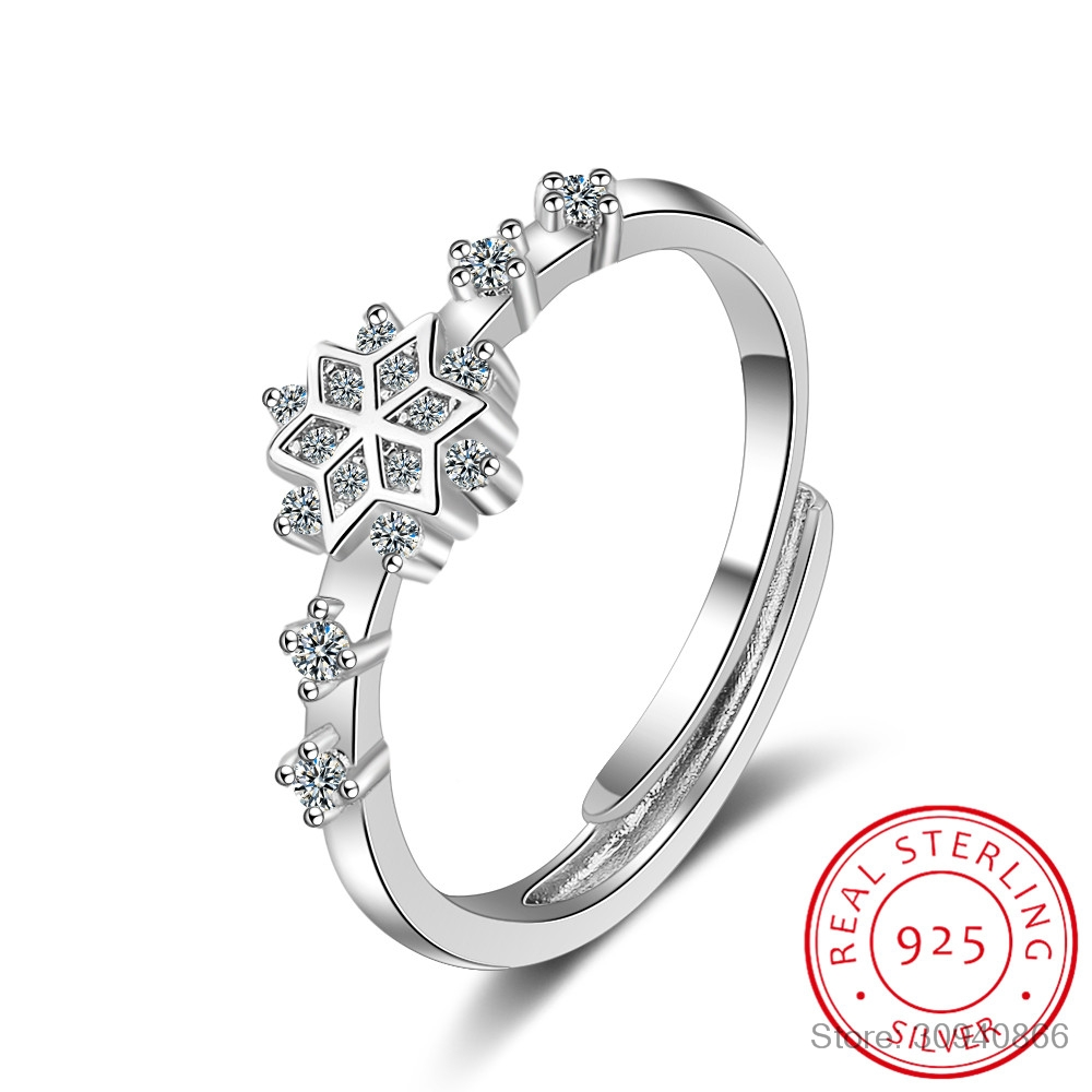 New 925 Sterling Silver Flower Ring For Women Party Shiny Crystal CZ Snowflake Opening Ring Fine Jewelry Christmas Gift