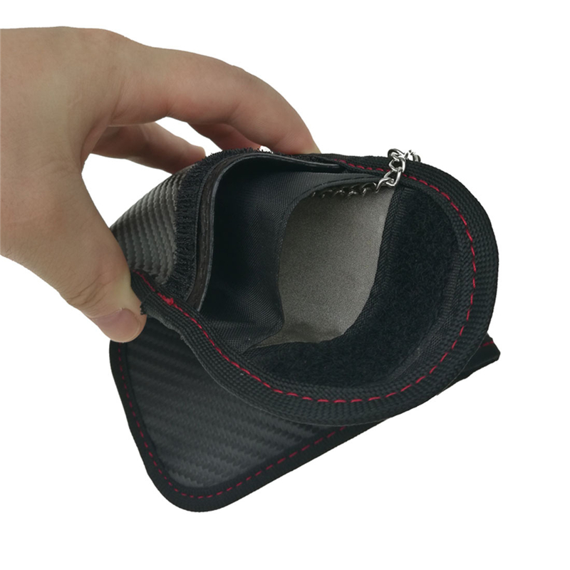 2019 Fashion Carbon Fiber Leather Key Case Electromagnetic Shielding Key Case Car Key Signal Shielding Bag Anti-theft Wallet