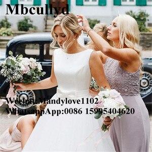 Image 2 - Mbcullyd Boho Trouwjurken 2019 Elegant Satijn En Tulle Lange Floor Lengte Bruid Jurk Plus Size A lijn vestido de noiva