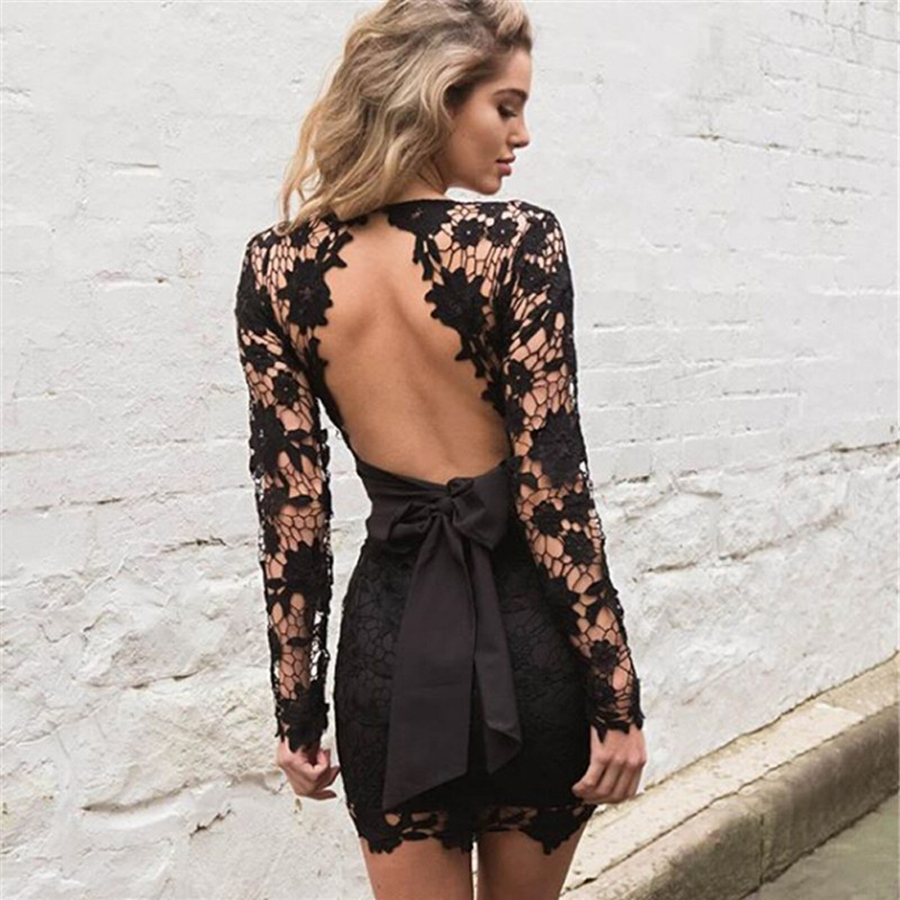 Nadafair Sexy Backless Deep V Neck Lace Dress Summer Black Pink Embroidery Hollow Out Long Sleeve Elegant Party Dresses Women