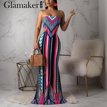 Glamaker Knitted sexy plus size boho dress Women spring sleeveless bodycon maxi dress Summer beach vintage holiday club dress