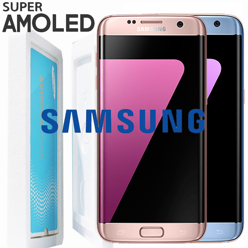 Pink Coral Blue 5 5 Display with Burn Shadow LCD for SAMSUNG Galaxy S7 edge G935