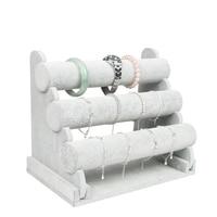 3 Tier Grey Velvet Bracelet Chain Watch T Bar Rack Jewelry Organizer Hard Display Stand Holder