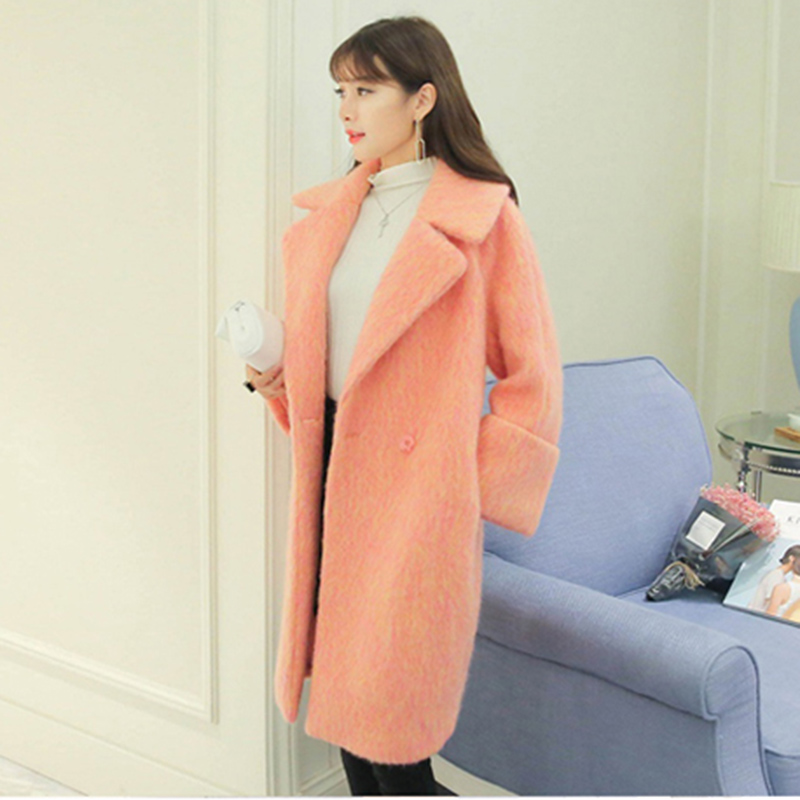 orange Laine Pink 2018 type longue Manteau Mince Cocon De Automne Épais Solide Bouton Nouvelles Dd110 Veste Couleur Section Mi Femmes Unique Gray Hiver qxBFqwAP1