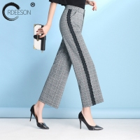 ORDEESON 5xl 6XL 7XL Wide Leg Pants Plaid Pants Trousers Plus Size Wide Leg Pants Korean Fashion 2018 Striped Lace Splice Loose