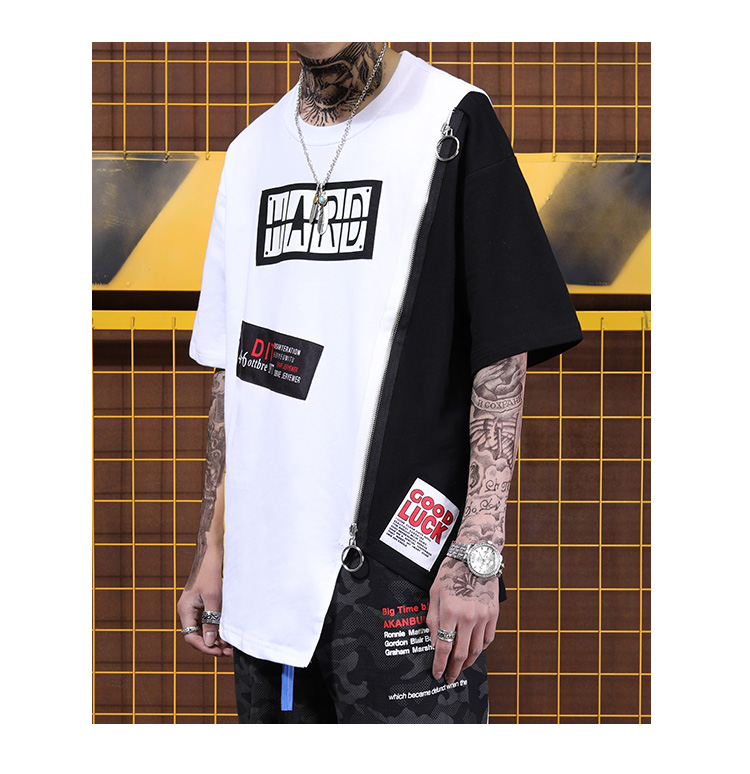 Tide brand long section five point sleeve half sleeve T shirt trend color matching zipper decorative short sleeve-in T-Shirts from Men's Clothing on Aliexpress.com | Alibaba Group 25