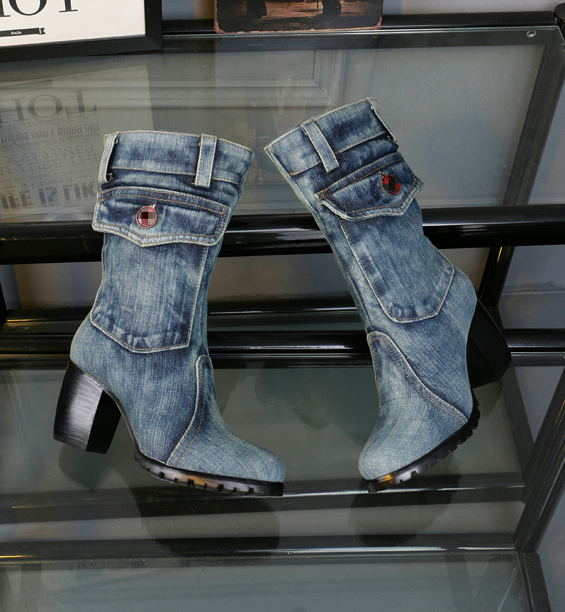 2016 New Design Boots Women Brand Denim Fashion Short  Boots Thick Heels Side Zip Cowboy Boots Euro Size 34- 42 wisted x boots cowboy boots only size 11 left eur size 42 knight boots tassel short boots