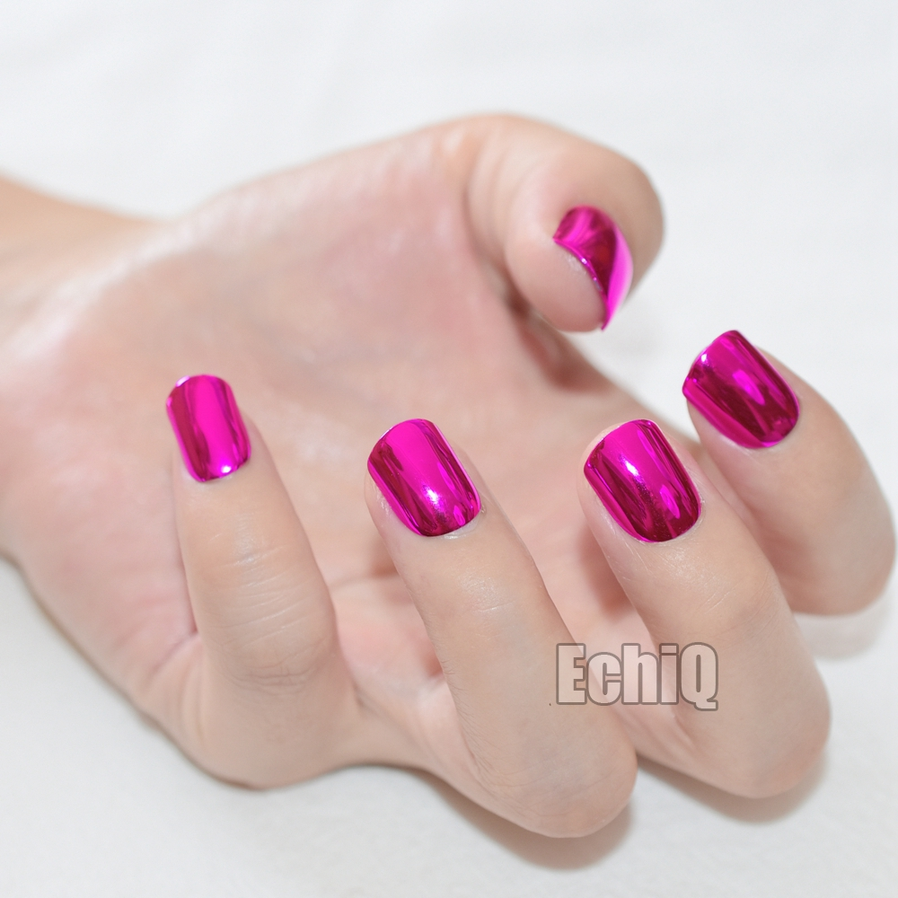 Shiny Metallic Artificial Nail Tips Dark Rose Red Short Full Cover ...