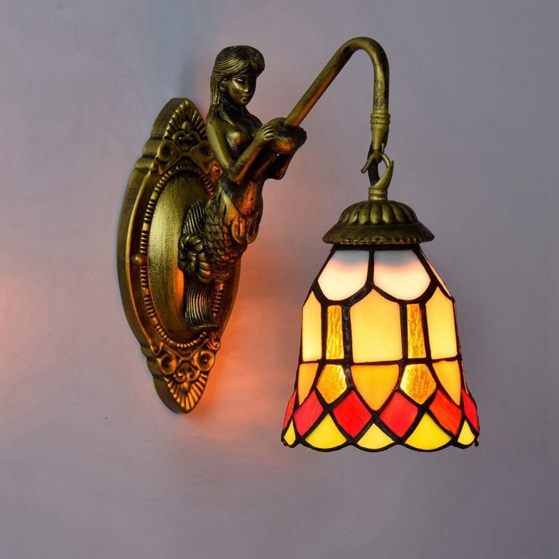 European retro Tiffany coloured glass living room, bedroom bar club aisle red happy wall lamp блокнот printio мстители эра альтрона