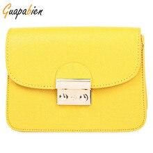 Guapabien Candy Color Women Leather Handbags Korean Style Chain Bags Women Mini Bag for Phone Purses Flap Messenger Shoulder Bag