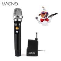 MAONO Беспроводной ручной микрофон вокальный Металл динамической беспроводной микрофон с UHF кардиоидный и мульти-Частота канала для караоке