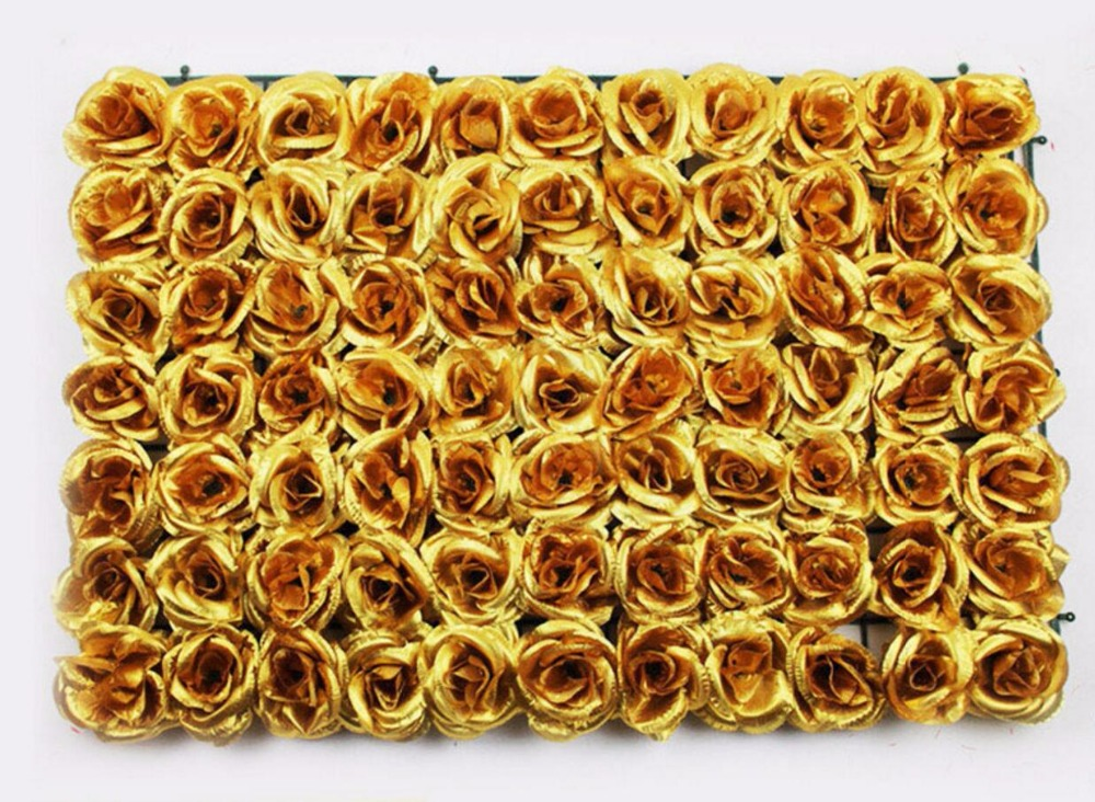 1 Piece 60*40cm Silk Gold Roses Flower Lawn For Wedding Home Office Hotel Archway Venue Decoration