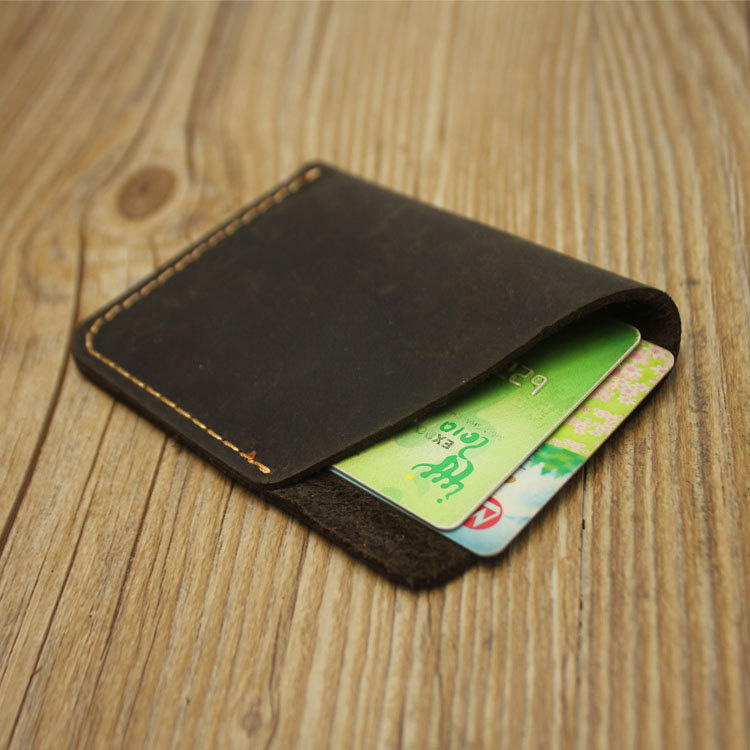 Vintage Real Cow Leather Porte Carte Credit Id Card Cover Genuine Leather Pass Case To Protect Credit Cards