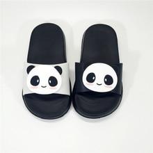 KINE PANDA Kleine Kinder Hausschuhe Mädchen Jungen Kleinkind Baby Hausschuhe Große Kinder Cartoon Panda Design Indoor Garten Schuhe 1-7 Y
