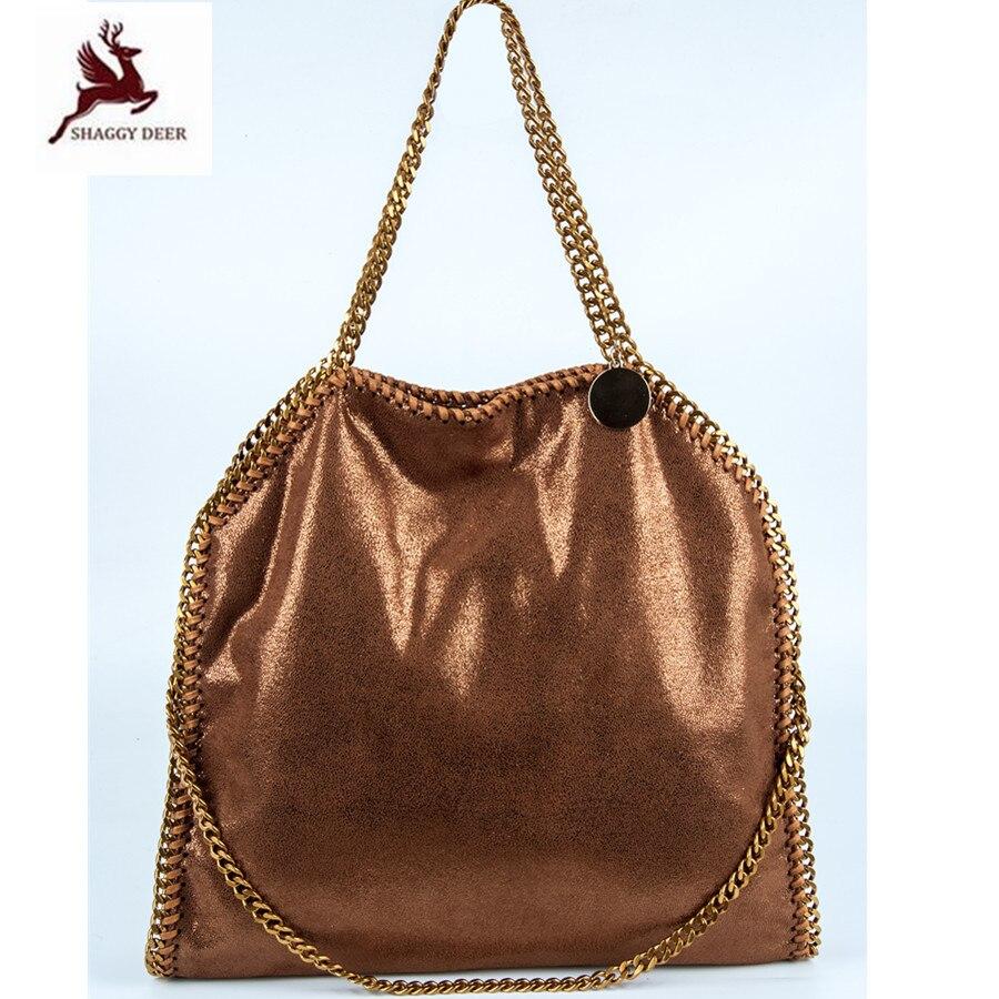 2018 New Luxury Color Shaggy Deer Falabellas 3 Chain soft Fold-Over Shopping Tote Classical PVC Vintage Golden Chain Fala Bag недорго, оригинальная цена