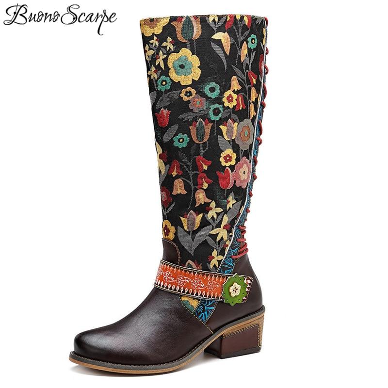 BuonoScarpe النساء خليط العرقية الأحذية منتصف العجل الدانتيل احتياطي التطريز بوتاس موهير جولة اصبع القدم الرجعية الغربية أحذية حذاء بسيور-في بوت للركبة من أحذية على  مجموعة 1