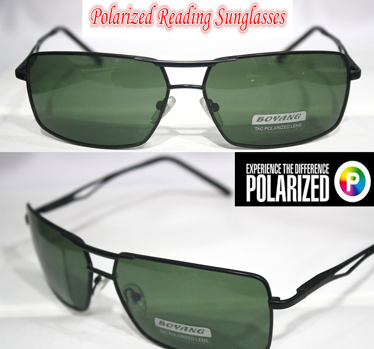 !!Polarized reading sunglasses!! Black Frame Green...