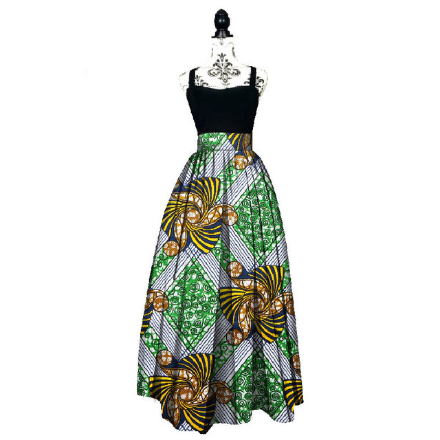 249460a2dd5 2019 Fashion Women African Print Long Skirt Ankara Dashiki High Waist A  Line Maxi Long Umbrella