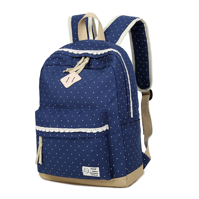 Ecoparty School Canvas Dot Printing Backpack for Teenagers Girl Laptop Bag Rucksack Preppy Style Lace Women
