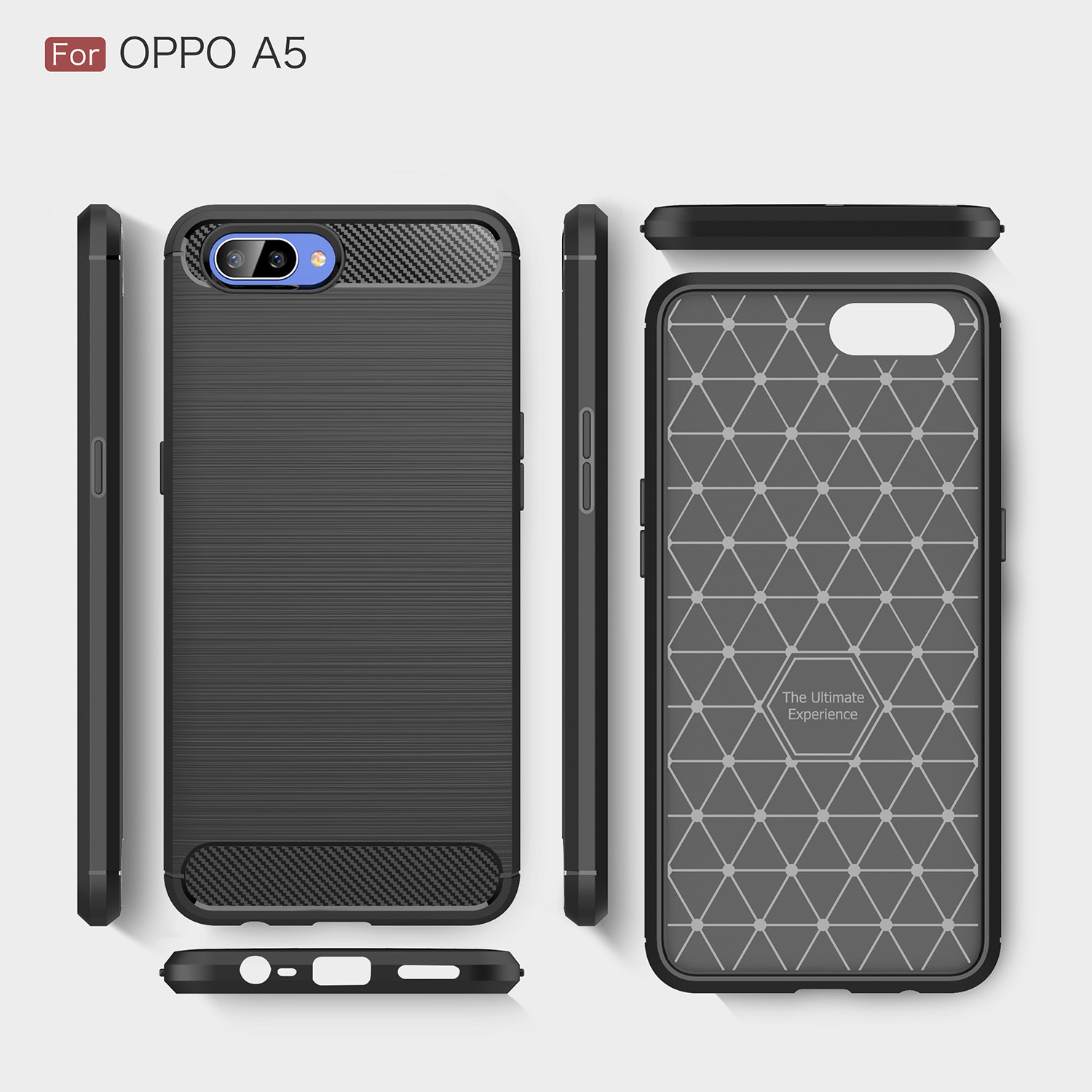 "Wolfsay Carbon Fiber Case Oppo A5 Phone Case Oppo A3S Soft Silicone Cover For Oppo A3s Case Anti Slip Shell For Oppo A3s 6 2"" in Fitted Cases from"