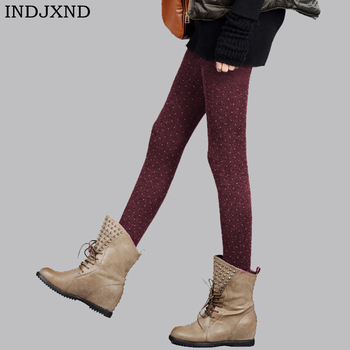 INDJXND New Winter Women Sparkling Warm Tights Dot Design Thick Soft Cotton Wool Fabric Knitted Pantyhose Flexible Ladies Tight photochromic wool fabric