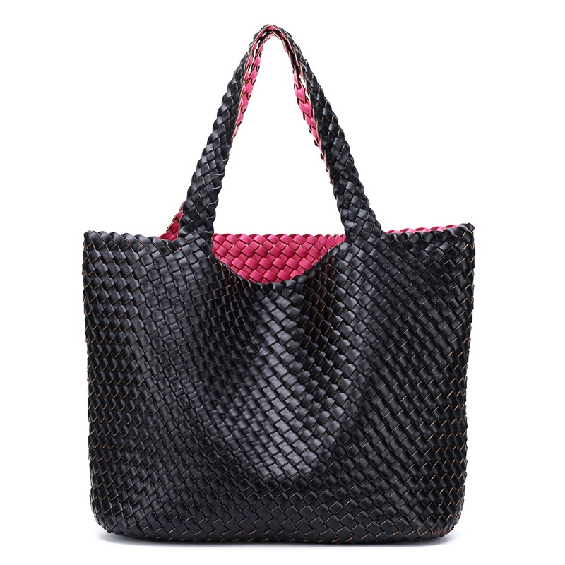Ladies Handmade Knitting Handbag Criss Cross Woven Leather bag Women String  Large Capacity Casual Tote -in Top-Handle Bags from Luggage   Bags on ... 1b15a0074f0ef