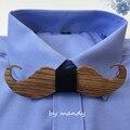 Cebra de la alta calidad De Madera pajarita hombres divertido bigote bowtie pajaritas fábrica al por mayor envío gratuito