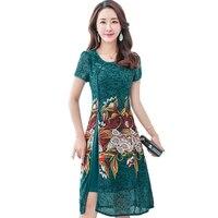 2018 Summer Vintage Printing Silk Women Dress Female Short Sleeve Improved Cheongsam O Neck Elegant Dress New Women's Clothing
