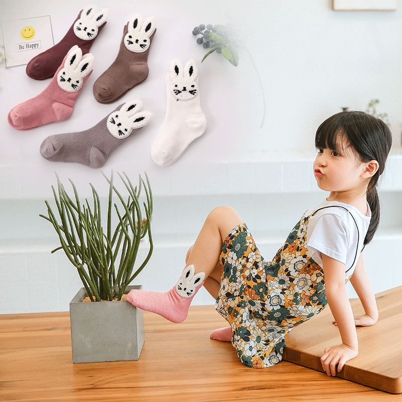 Retail 5 Pairs Of Children Socks / Cotton Fashion Breathable Cute Rabbit Kids Socks Casual Baby Socks 0-8 Years Old Girls Socks