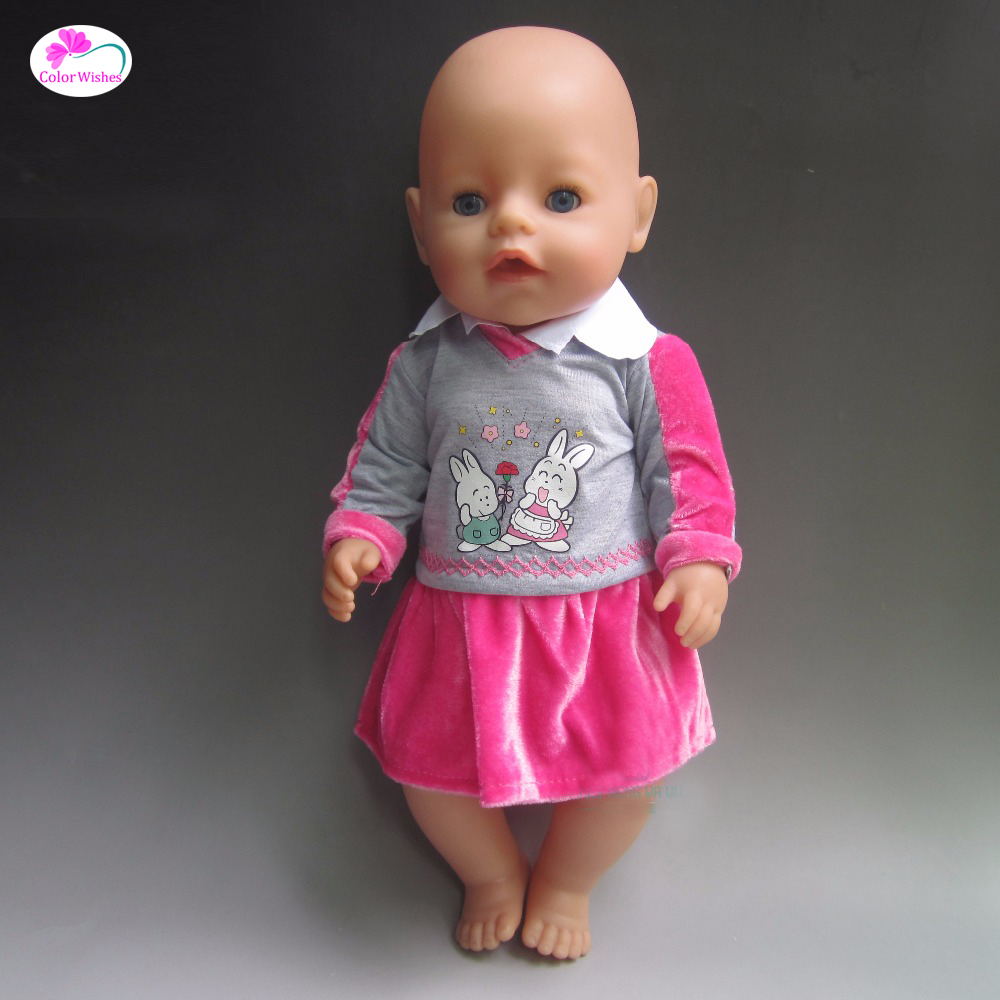 White pajamas skirt Clothes for dolls fit 43 cm Baby Born zapf,16-18 inch dolls Accessories (only sell clothes)