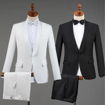 wedding suits for men blazer white black singer suits fashion slim masculino latest coat pant designs chorus groom clothes S-2XL