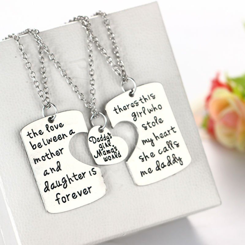 3pcs Papa Maman Fille Forever Love Famille Coeur Puzzle Pendentif Collier Set