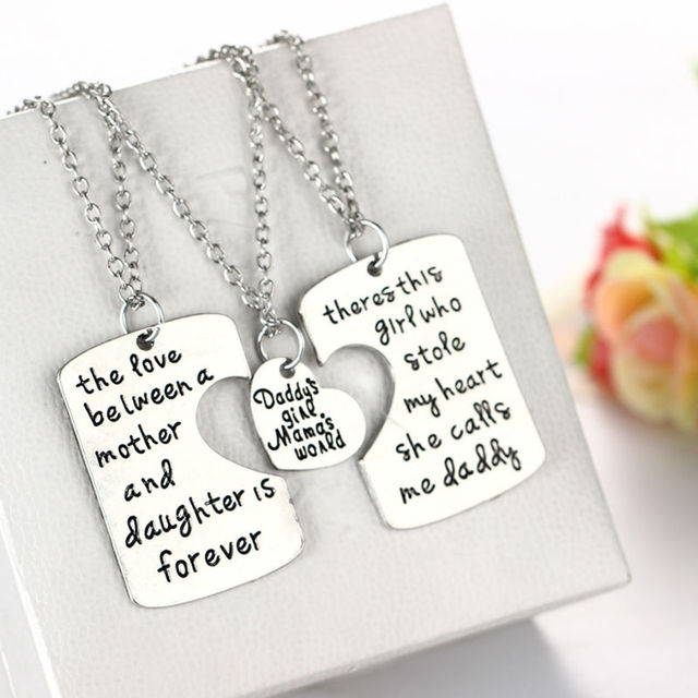 Nice Best Gift For Dad From Daughter Part - 1: 3pc/set Dad Daughter Mother Pendant Necklace Best Gift Fashion Family  Motheru0027s Day U0026 Fatheru0027s