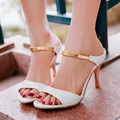 New Arrival 2015 Summer Peep Toe Sweet Fashion Women's Sandals Thin Heel Shoes Pumps Sexy Gold Ankle Strap High Heel Sandals