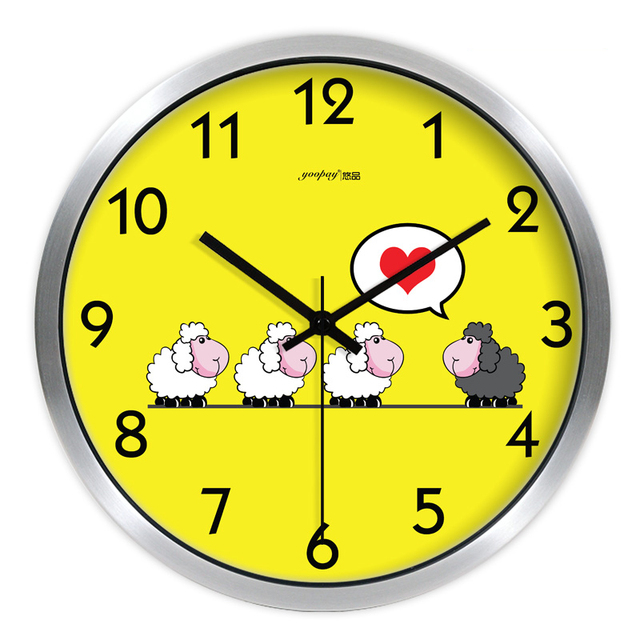 Yellow Sheep Living Room Quiet Quartz Wall Clock Home Decoration Bedroom Fashion Creative Wall Clocks