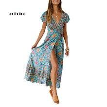 купить Echoine Women Bohemian Dress Sexy V-Neck Low Cut Floral Print High Split Female Casual Vacation Vestidos Elegant Dames Sundress по цене 1078.57 рублей