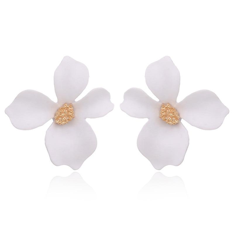 2019 Boho Painting Big Flowers Pearl Ear Stud Earrings Women Charm Jewelry Gifts